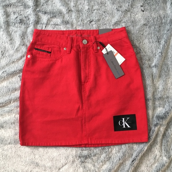 756ebd1850 Calvin Klein Skirts   Jeans Red Denim Mini Skirt Nwt   Poshmark